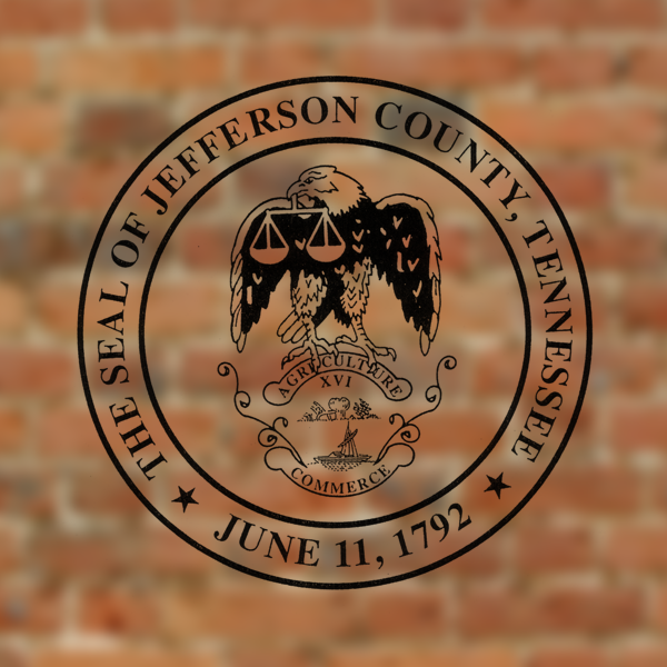 Jefferson county county seal placed on a brick background