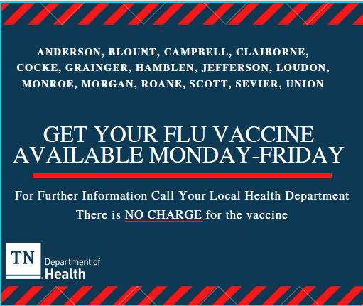 Flu Season graphic showing the local health departments where jefferson county people may get a flu vaccine