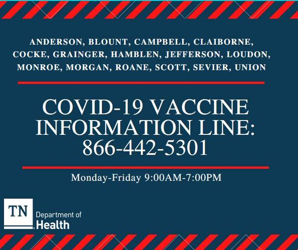 COVID 19 Vaccine Information Line Graphic for Jefferson County